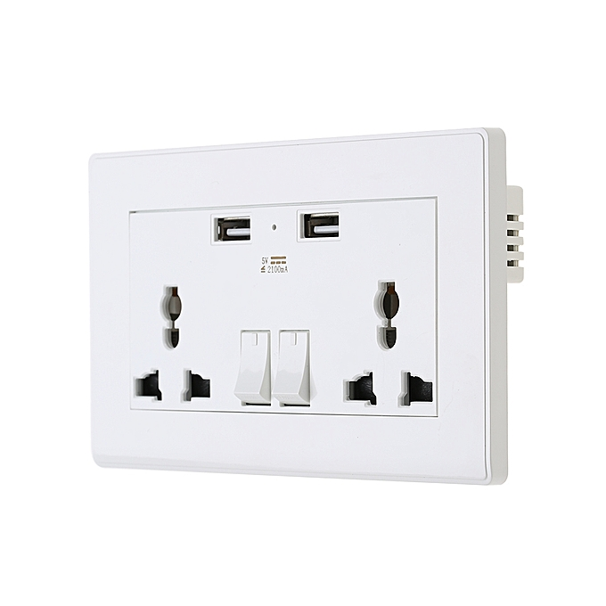 Ổ Điện Đôi Âm Tường Wall Socket Dual 2 USB Plug Switch Power Supply Plate 2100mA
